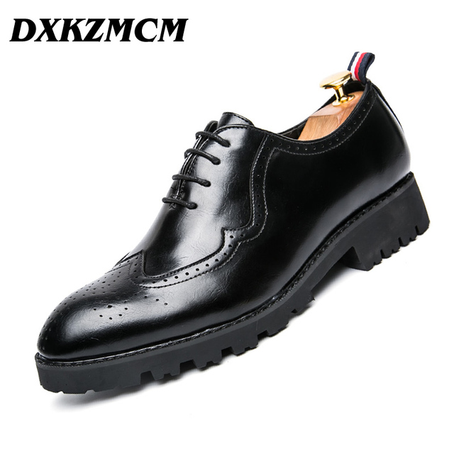 DXKZMCM black / brown mens Dress Shoes Genuine Leather Oxford Business Shoes Mens Formal Wedding shoes