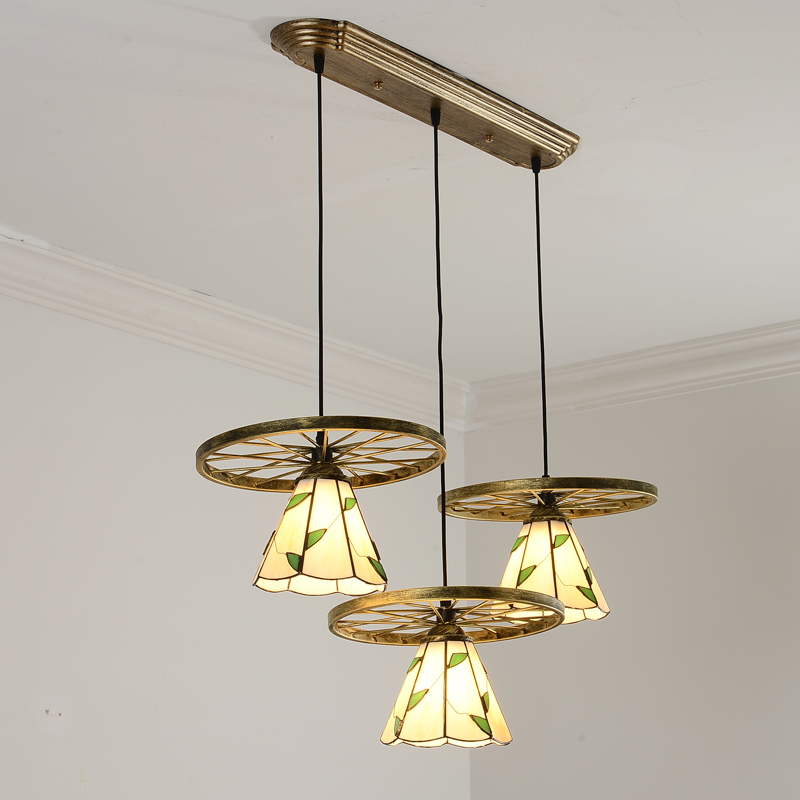 Tiffany Dining Room Bronze wheels Pendant Lamp American Bar Counter Glass Pendant Lamp Restaurant Romantic Pendant Lighting Lamp
