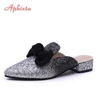 Aphixta Yaz Sivri Burun Kadın Terlik Ayakkabı Kare Topuklu Kelebek-düğüm Bling Payetli Kumaş Çevirme Büyük Boy Kadın ayakkabı
