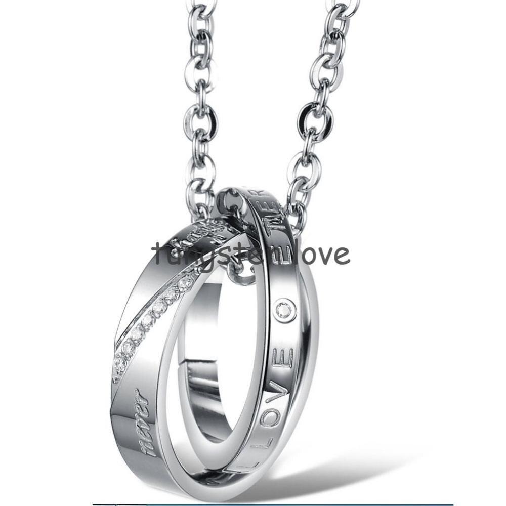"""BONISKISS, новинка, His& Her, нержавеющая сталь, """"Вечная любовь"""", обещанный круг, пара подвесок, ожерелья, подарок на день Святого Валентина(одна пара"""
