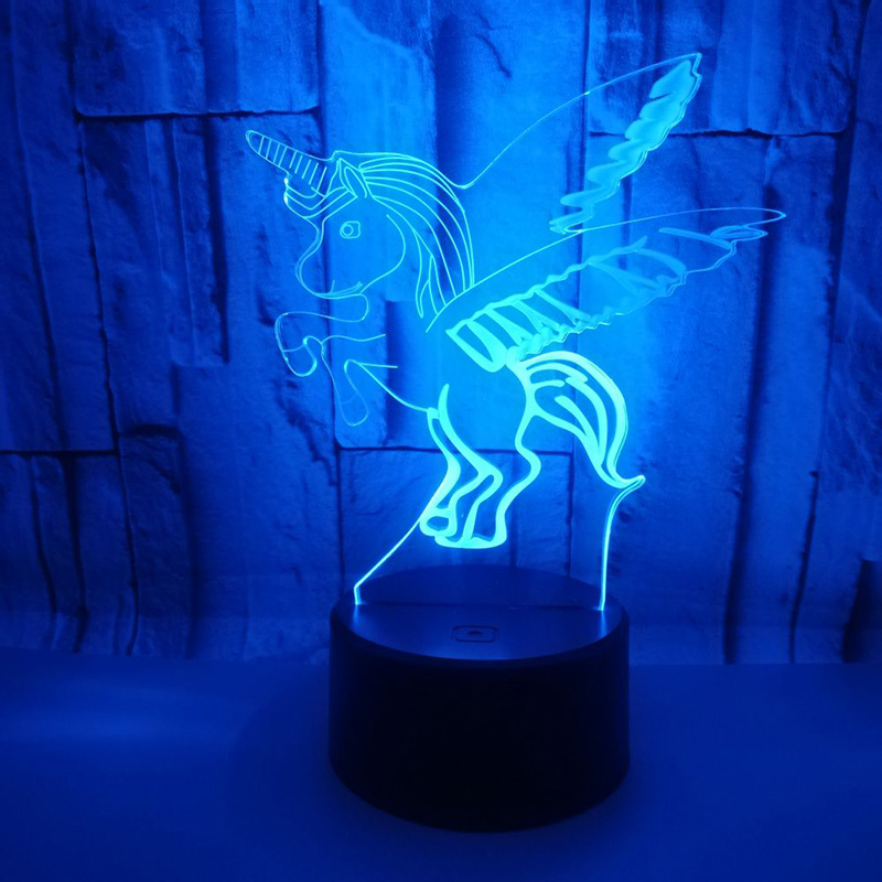 Led Lamps Hngchoige Horse Bedroom 3d Illusion Led Night Light Changing Color Touch Table Lamp Desk Moderate Price