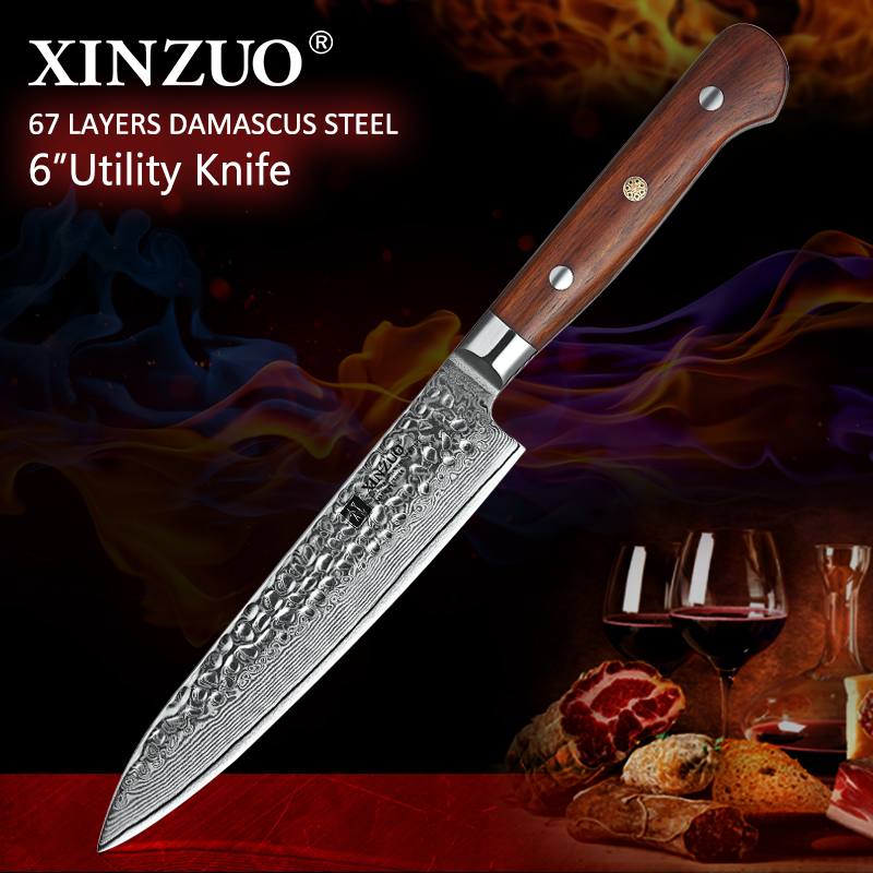 XINZUO 6'' Utility Knife Vg10 Damascus Steel Kitchen Utility Knives For Vegetables Rosewood Handle Stainless Steel Paring Knife