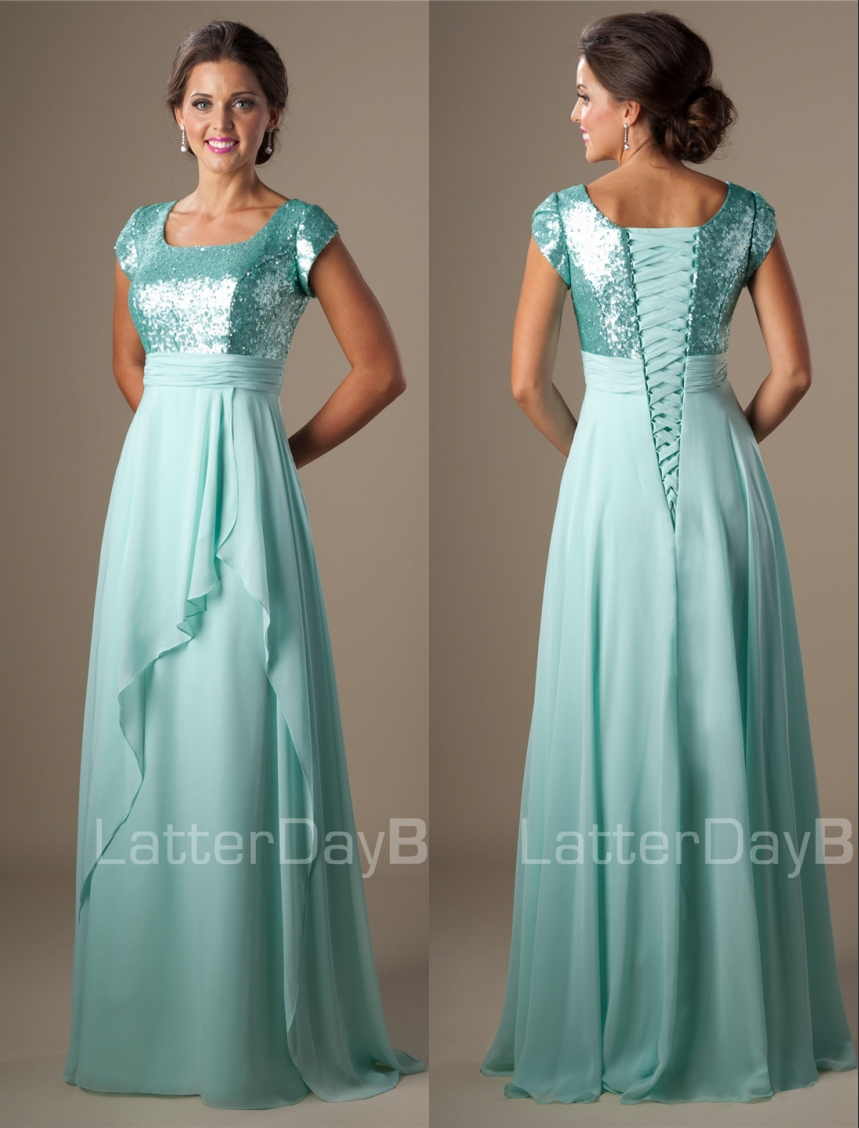 Mint Sequins Chiffon Modest   Bridesmaid     Dresses   Cap Sleeves Long A-line 2019 Women Formal Night Maids of Honor   Dresses   Simple