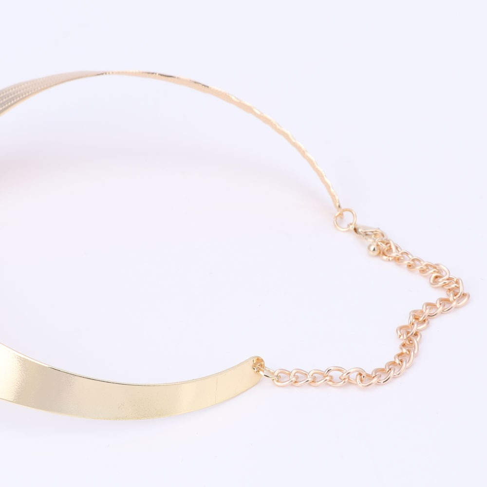 Gold Collar Necklace and Hoop Earrings Jewelry Set