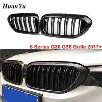 1Pair G30 G38 Carbon Fiber Kidney Grille for BMW 5 Series 2 slat G31 Front Bumper Racing Grills 520i 530i 540i 2017 2018+