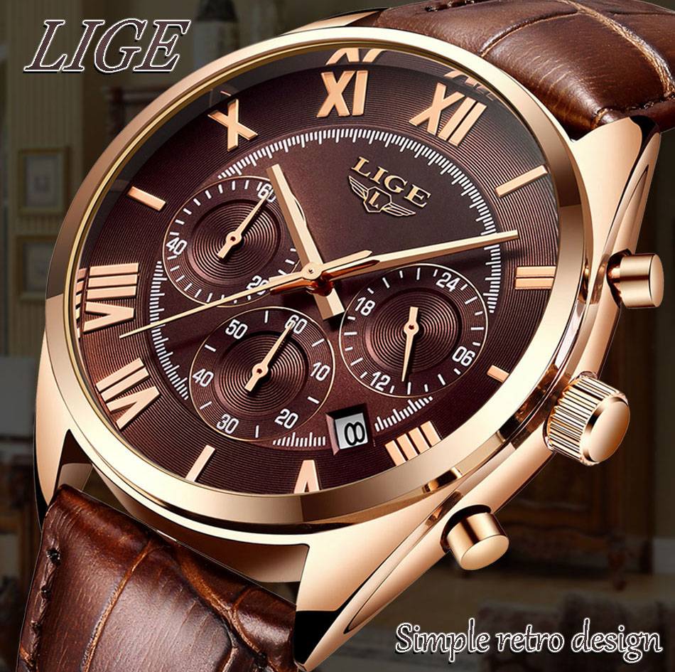 HTB1lk7LPhYaK1RjSZFnq6y80pXar LIGE Watch For Men Top Brand Luxury Waterproof 24 Hour Date Quartz Clock Brown Leather Sports WristWatch Relogio Masculino 2019
