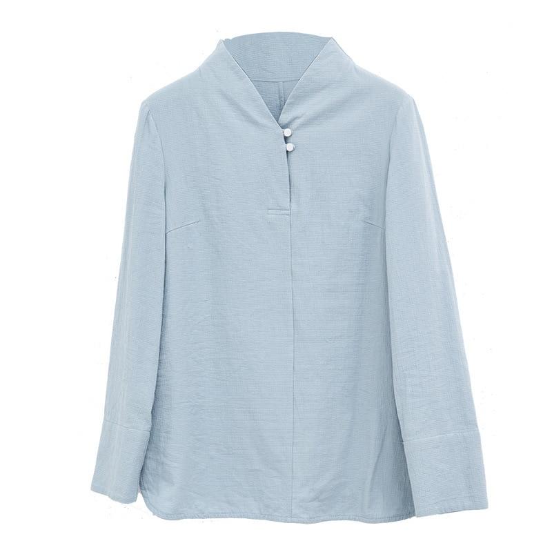 Camisa Mandarín Nacional Collar Algodón Color De Blusa Ropa Estilo Sólido Manga Blue Primavera Verano Light Mujeres Larga Nueva Top blanco Casual awCq0wYxE