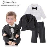 Bruiloft set peuter jongen 3 stks zwarte jas + broek + wit shirt jongens gentelman vlinderdas outfits zuigeling formele suits party kleding