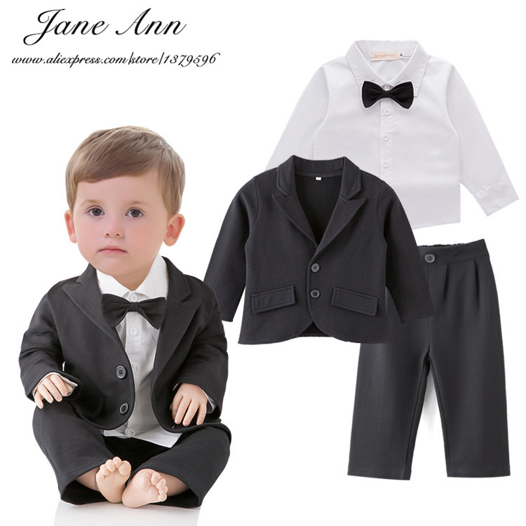 Wedding set toddler boy 3pcs black jacket+pants+white shirt boys gentelman bow tie outfits infant formal suits party clothes 2016 leisure baby boys clothes set gentleman handsome formal wear wedding vest white t shirt tie pants party suits free shipping