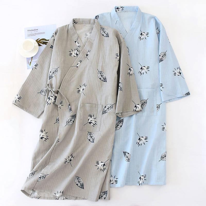 Men's Gauze Cotton Thin Summer Bathrobe Men Kimono Bath Robe Breathable Soft Loose Casual Men Sleepwear Long Sleeve Nightgown