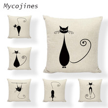 Black Cat Cushion Cover Decorative Throw Pillow Covers Linen 45*45 cm Pillowcase Home Decor Pillowcase Sofa chair Kid bedroom miracille marine style mermaid painting pattern coffee house chair waist decorative cushion cover bedroom throw pillowcase 18