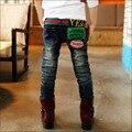 Autumn & winter Fashion Carta Engrossar Lavagem Luz Jeans para Meninos Cintura Elástica calças de Brim das Crianças calças de Brim Menino Crianças Calças calças p141