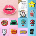 Chlidren  pins stock cap bag Cartoon brooches color Funny crystal brooches patch  Cat Dog easy brooch broche  retail
