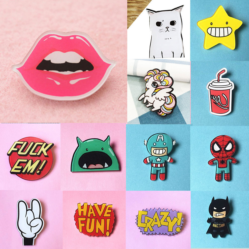 ZOEBER Chlidren pins stock cap bag Cartoon Anime brooches Funny crystal femme brooches patch Cat Dog easy brooch broche retail