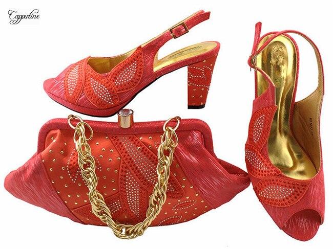 Приятный коралловый цвет свадебные/вечерние сандалии обувь с сумочкой комплект mm1043, высота каблука 8 см
