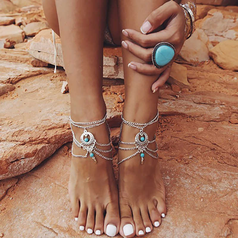 New Summer Barefoot sandals Beach Anklets Hollow Out Water Droplet Shape Multi-storey Foot Fashion Jewelry Boho Vintage KB348