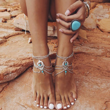 New Summer Barefoot sandals Beach Anklets Hollow Out Water Droplet Shape Multi-storey Foot Fashion Jewelry Boho Vintage KB348(China)