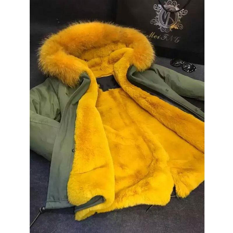 Faux fur deep yellow women winter coat with removable raccoon fur collar