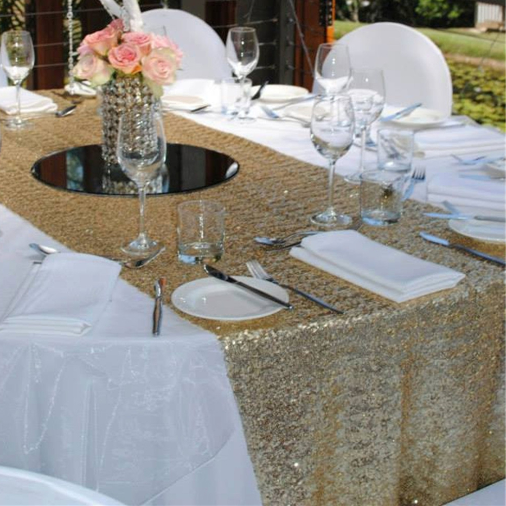 Gold Sequin Tablecloth Wedding Cake Table Runner Shiny For Event Banquet Christmas14 X120 In Runners From Home Garden