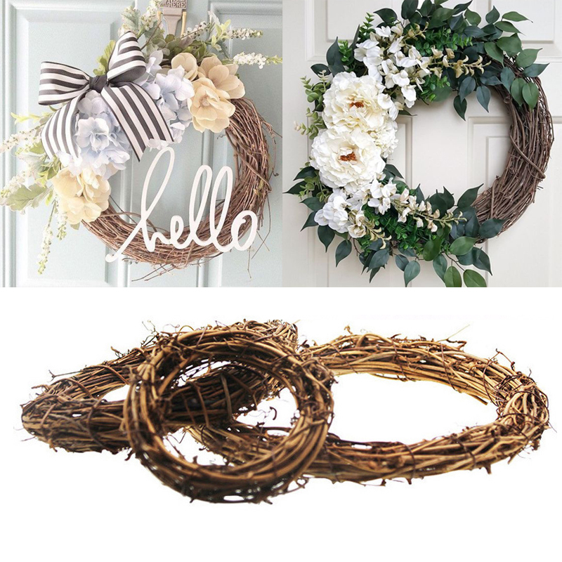 10 30cm Wedding Decoration Rattan Wreath Christmas Decor Garland Wreaths Wall Christmas Hanging Ornament Decorations For Home
