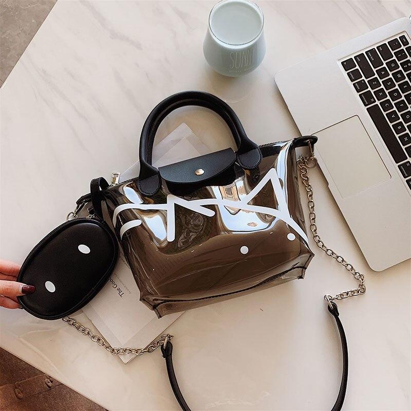 Grand sac 2019 nouvelle main haute capacité le sac à bandoulière à la mode joker transparent porté paquet de cils