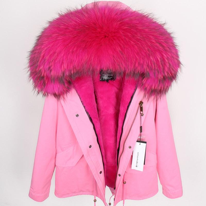 2018 размера плюс зимняя женская куртка с натуральным мехом, короткая куртка с воротником из натурального меха енота, парка с подкладкой из кр... - 5