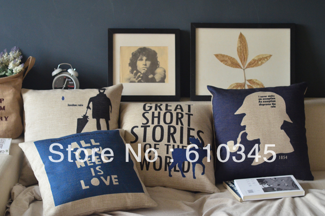 Free Shipping UK Style Sherlock Holmes Linen Cushion Cover