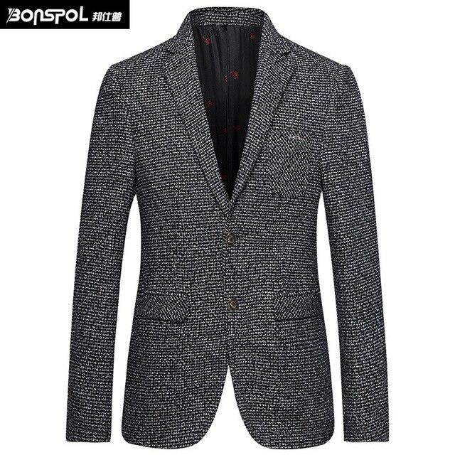 BONSPOL Темперамент элегантный джентльмен классический бутик пиджак 2016 Осень и Зима бизнес случайный высокого класса blazer мужчины S-XXXL