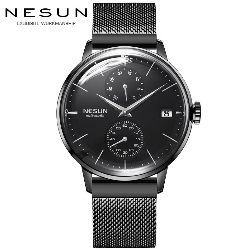 Luxury Brand Men's Watches Nesun Automatic Mechanical Watch Men Sapphire relogio masculino Stainless Steel Strap clock N9606-6 цена и фото