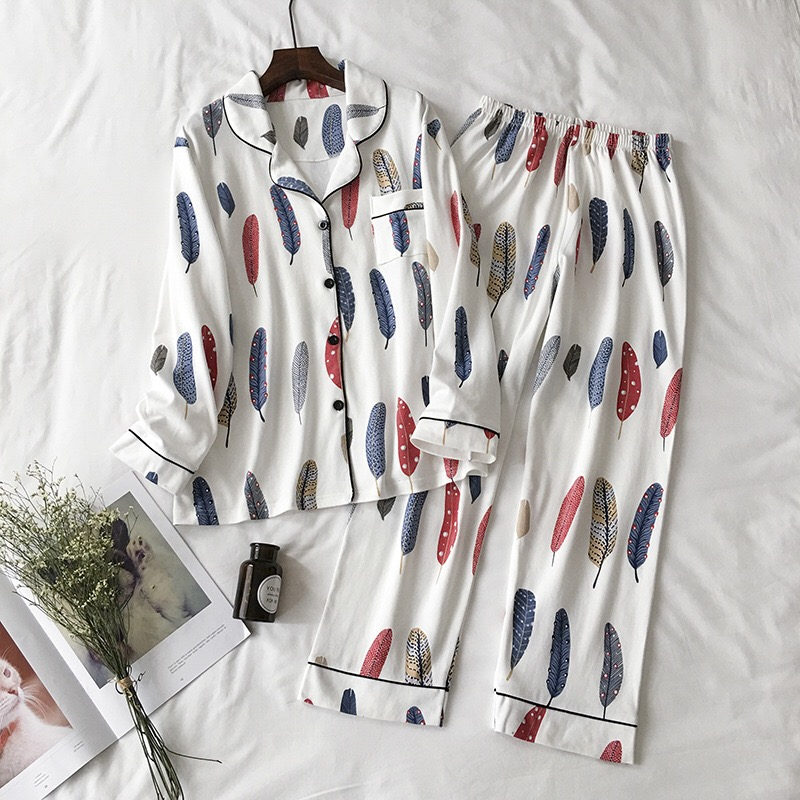 2018 New Cute Sleepwear Women   Pajama     Sets   Cotton Women Feather Print long Sleeve Turn-down Collar Pants   Pajama     Set   Two piece   set