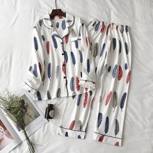 2020 New Cute Sleepwear Women Pajama Sets Cotton Women Feather Print long Sleeve Turn down Collar Pants Pajama Set Two piece set
