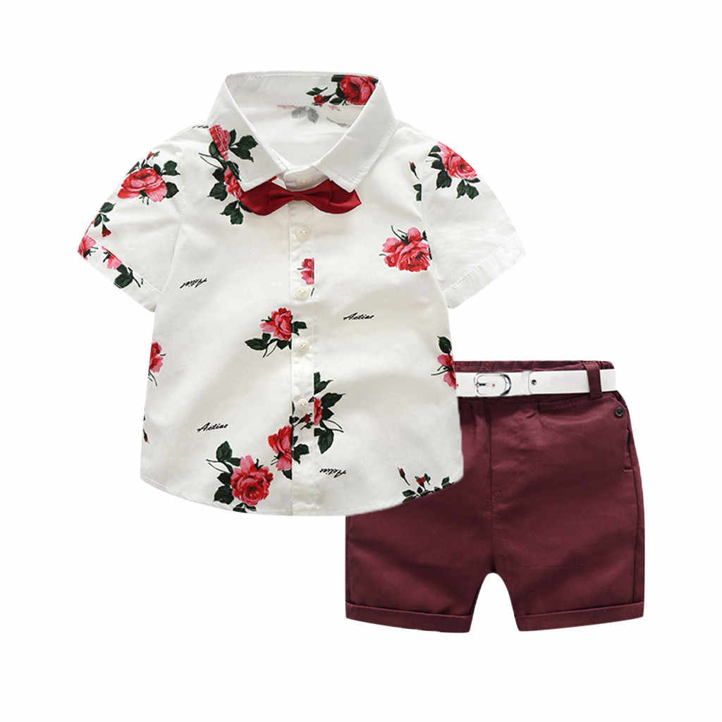 Rose flower print top belt shorts suit fashion  Toddler Baby Boy Gentleman Suit Rose Bow Tie T-Shirt Shorts Pants Outfit Set F4