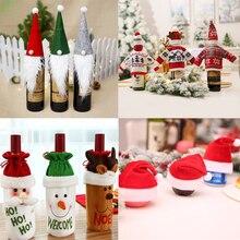 Рождественская Крышка для бутылки вина, новогодний подарок, держатель для сумки, декор стола, рождественские украшения для дома, вечерние, для ужина