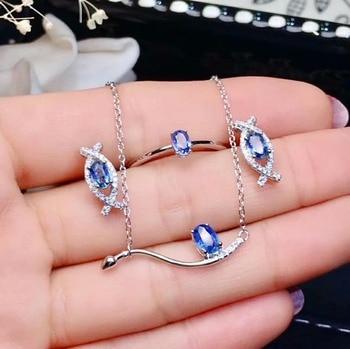 shilovem 925 sterling silver real Natural sapphire Rings pendants stud earrings fine Jewelry women wedding new jctz4635011agl