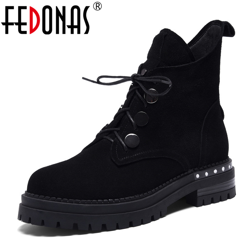FEDONAS Punk Black Women Cow Suede Ankle Boots Sexy Thick Heels Lace Up Ladies Shoes Woman