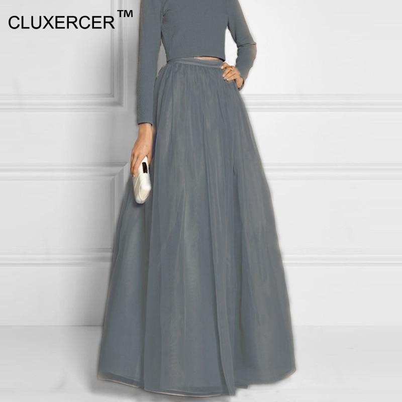 798b167f8 Cluxercer-marca-de-alta-calidad-de-las-mujeres-organza-Falda-larga -dreamlike-gris-Faldas-piso-longitud.jpg