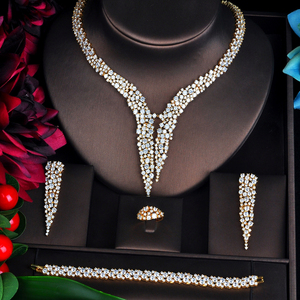 Image 2 - Ensemble de bijoux en or, mariée pour femmes, ensemble daccessoires de mariée, collier, anneau, boucle doreille, 4 pièces, nouvelle collection N 707