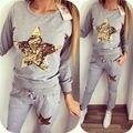 2 Pieces Hoodie Hoodies Sweatshirt Sequin Star Girl's Tops O Neck Autumn Winter Clothes Jogger Suit For Women LJ5844U