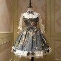 Fairy Принцессы Лолита Dress Старинные Китайский Стиль Цветочные Печатные Половина Рукава Лолита OP Dress