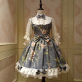 Fairy princesa lolita dress estilo chino de la vendimia floral impreso media manga op lolita dress