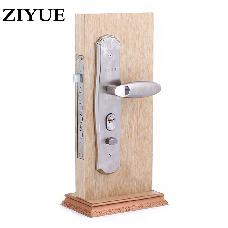 Free Shippng 2017 New Luxury Stainless Steel Handle Door Lock Anti-theft Locks Wholesale Creative Classic Simplicity