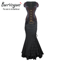 Burvogue Women Steampunk Corset Dress Gothic Corset Overbust Corset Top and Dress Steel Bones Corselet Jacquard Bustier Top