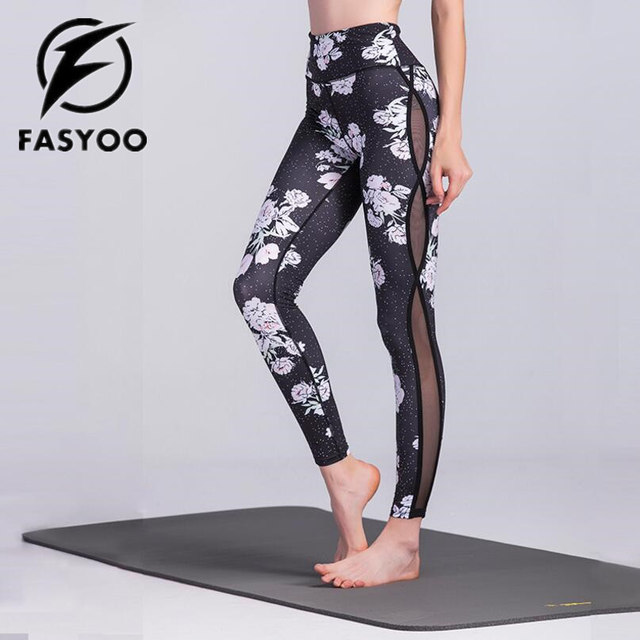 2d4c5f7dfe FASYOO Woman Workout Leggings Black Flower Yoga Pants Fitness Running Gym  Sports Trousers Exercise Tights Jogging Pants
