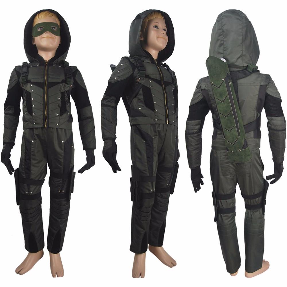 Kids boys Arrow (TV series) Season 6 Oliver Queen cosplay halloween costume deluxe superhero outfit xmas gift anime comic-con