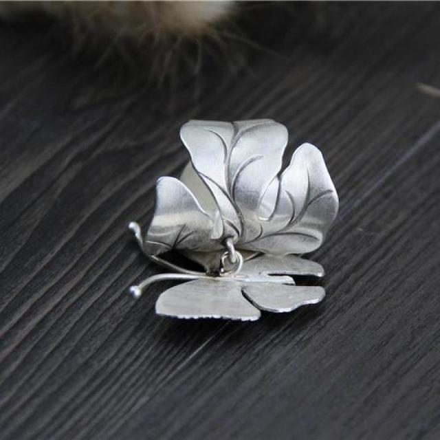 999 Sterling Silver Large Butterfly Ring 2
