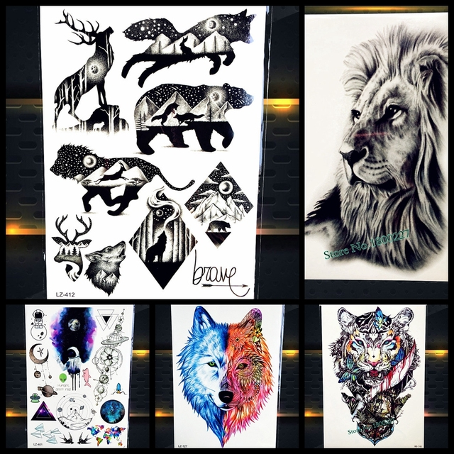 d37a4fb63 Cool Bear Beast King Waterproof Temporary Tattoo Indian Lion Warrior Fake  Flash Men Tattoo Sticker 21x15CM