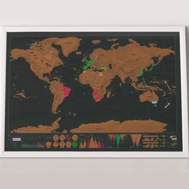 42*30cm Deluxe Erase Black World Map Scratch Off World Map Personalized Travel Scratch For Map Room Home Decoration Wall Sticker