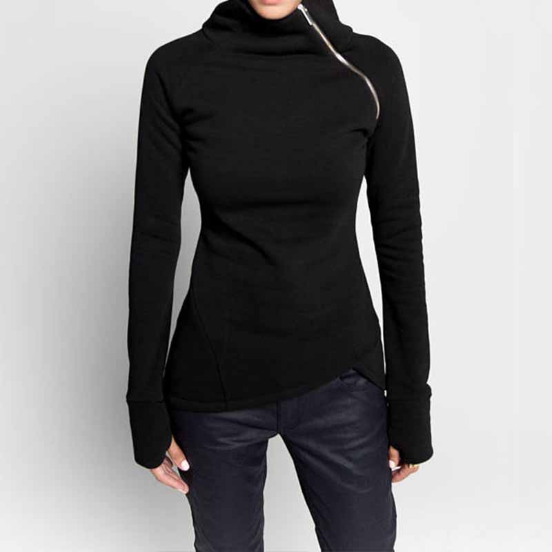 ZANZEA Plus Size 2018 Women Pullovers Hoodies Sweatshirts Autumn Casual Solid Long Sleeve Turtleneck Slim Fit Zippers Blusas