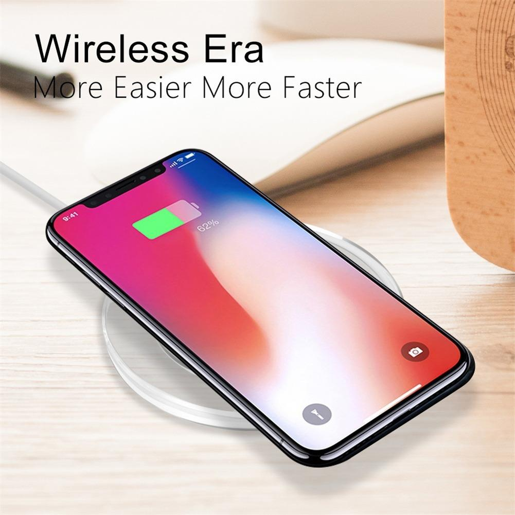 Qi Wireless Fast Charger for iphone X XR 7 8 Mobile Phone New Ultra Thin Quick Charging Pad for Xiaomi Huawei Transmitter Round in Mobile Phone Chargers from Cellphones Telecommunications