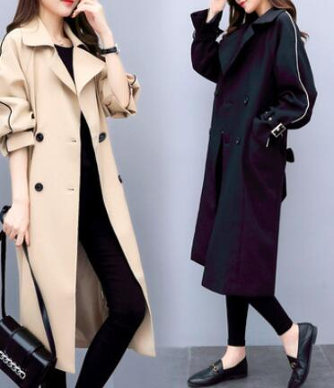Trench   Coat for Women 2018 Casual Double Breasted Turn-down Collar Spring/Autumn Coat Women's Overcoat with Pocket